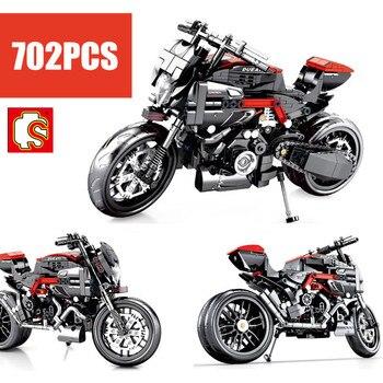 New Sembo Block City Ducati Motorcycle Racing Sports Car Fit Technic Model Building Blocks Bricks Toys Children Kid Birthday