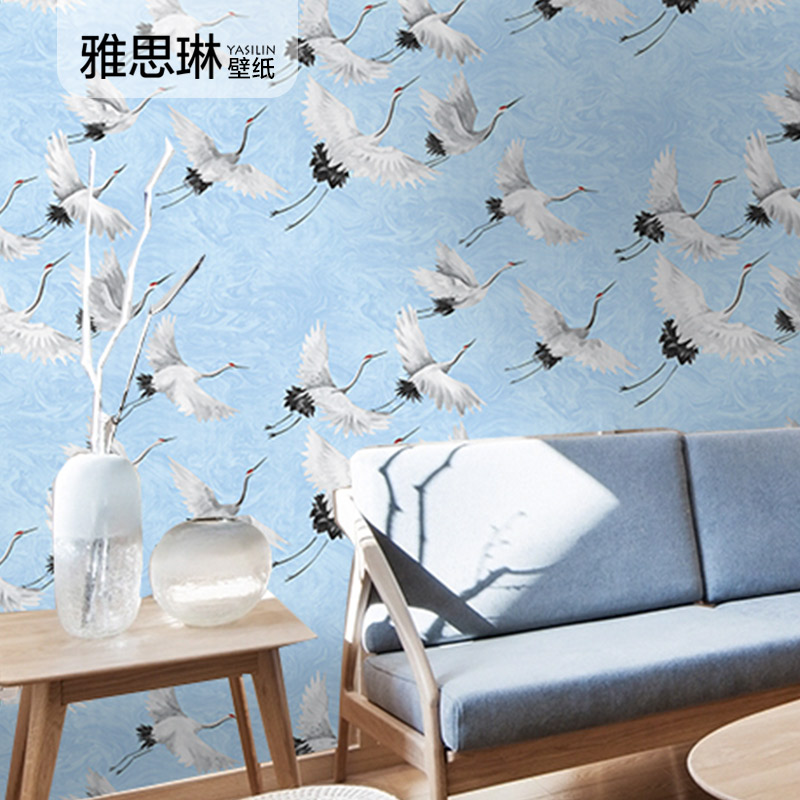 High Quality Chinese TV Background Wall Paper Crane Bird White Crane New Chinese Style Living Room Bedroom Study Hotel