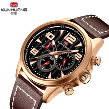KUNHUANG Fashion Men Luxury Top Brand Sport Watch Luminous Pointers Brown Leather Business Quartz Watch Calendar Wristwatches все цены