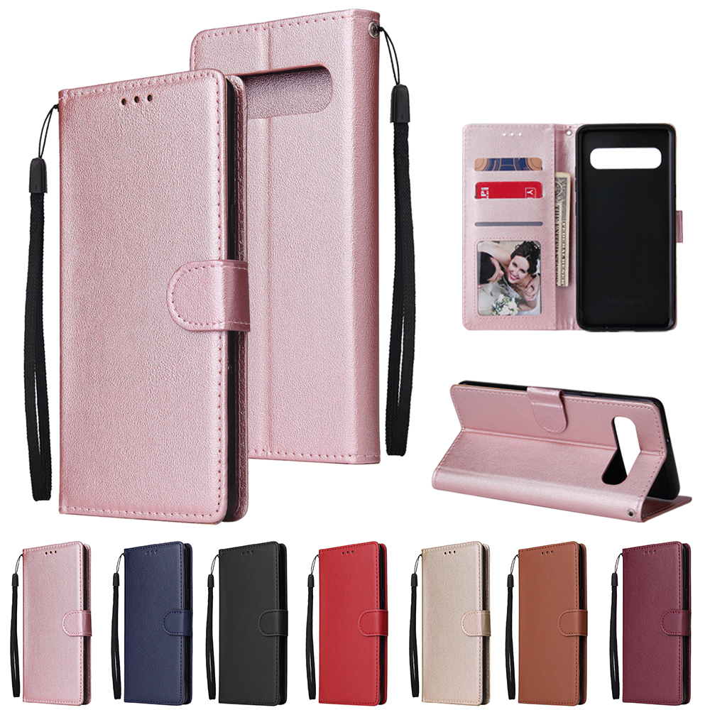 For <font><b>Samsung</b></font> Galaxy <font><b>S6</b></font> S7 Edge S8 S9 S10 Plus Solid Color Leather Wallet <font><b>Case</b></font> for <font><b>Samsung</b></font> S10E S10 Lite <font><b>Flip</b></font> Cover Card Slot Bag image