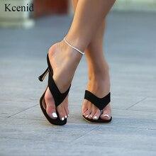 Kcenid 2020 ใหม่ Ladys รองเท้าแตะฤดูร้อน flip flops รองเท้าส้นสูงสแควร์นิ้วเท้ารองเท้าแตะสีดำ ผู้หญิงสไลด์รองเท้าขนาด 41 42