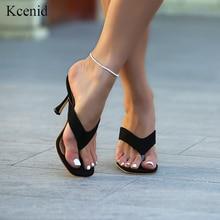 Kcenid 2020 חדש ladys קיץ כפכפים כפכפים עקבים גבוהים בוהן מרובע מוצק שחור נעלי בית נשים נעלי שקופיות גדול גודל 41 42