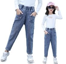 Джинсы с накладными карманами для девочек на возраст 6 8 12