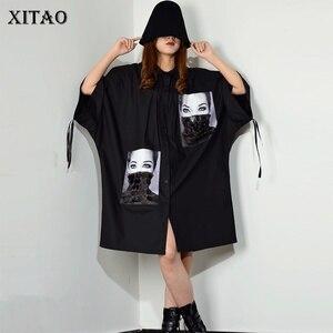 Image 1 - [XITAO] فستان بطبعة مطرزة بمقاسات كبيرة للنساء بياقة مقلوبة مُزين برسومات واحدة ملابس للنساء 2019 جديد XJ1509