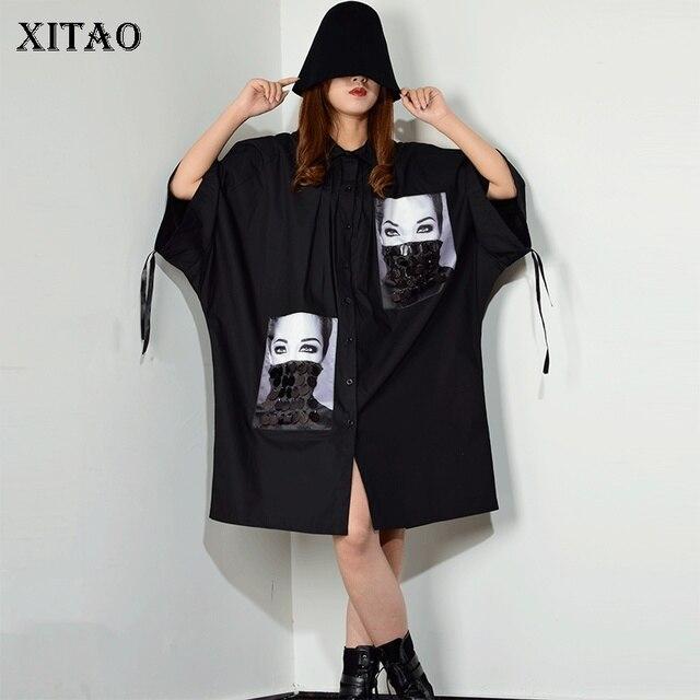 [XITAO] فستان بطبعة مطرزة بمقاسات كبيرة للنساء بياقة مقلوبة مُزين برسومات واحدة ملابس للنساء 2019 جديد XJ1509
