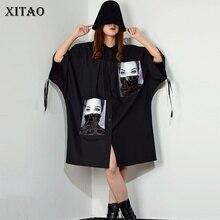 [Xitao] 스팽글 인쇄 패턴 플러스 사이즈 드레스 여성 턴 다운 칼라 패치 워크 싱글 브레스트 여성 의류 2019 새로운 xj1509
