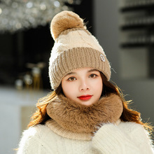 Women Knitted Cap Winter Warm Smiley Color Matching Hat Scarf Student Baotou Two-piece Plus Velvet Pompon Fashion