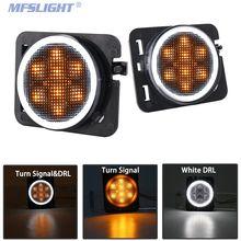 цена на LED Front Fender Side Marker Lights Brake Stop Blinker Turn signal Light white halo Lamps For Jeep Wrangler JK JKU 2007-2017