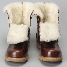 الصوف الطبيعي الشتاء أحذية الرجال أحر جلد البقر الشتاء أحذية الرجال # YM008