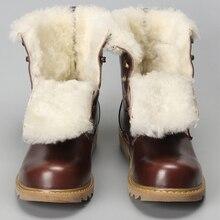 Botas de invierno de lana Natural, zapatos de invierno de cuero de vaca para hombre # YM008