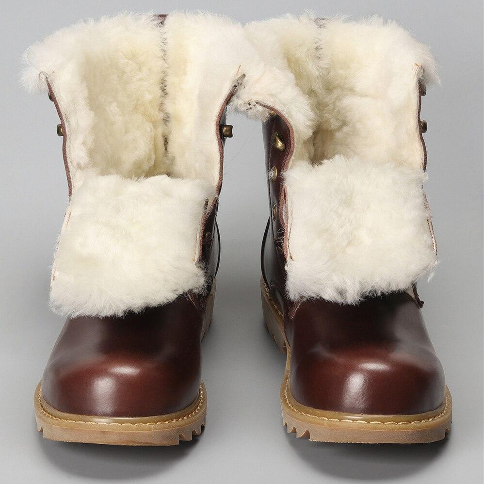 Natürliche Wolle Winter Stiefel männer Wärmsten Kuh Leder winter schuhe männer # YM008-in Schneestiefel aus Schuhe bei  Gruppe 1