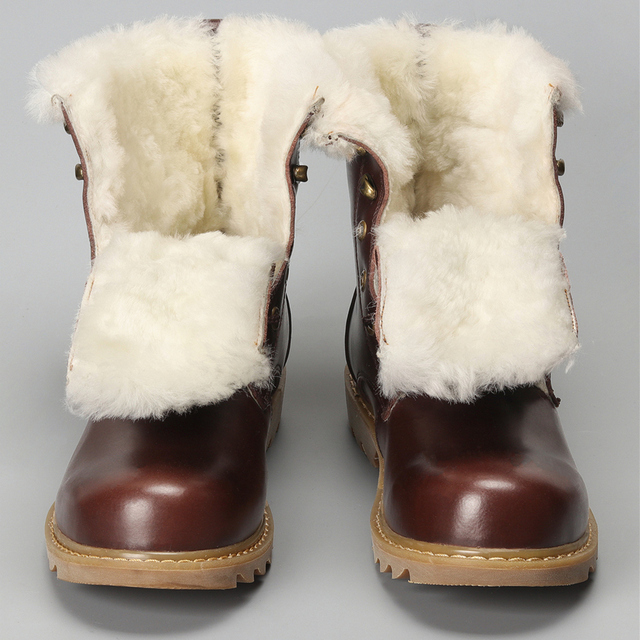 Natural Wool Winter Boots men Warmest Cow Leather  winter shoes men #YM008