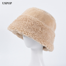 USPOP 2019 New Winter thick bucket hats women Lamb wool hat casual warm flat top female bucket hat chic rose and leaf pattern flat top black bucket hat for women