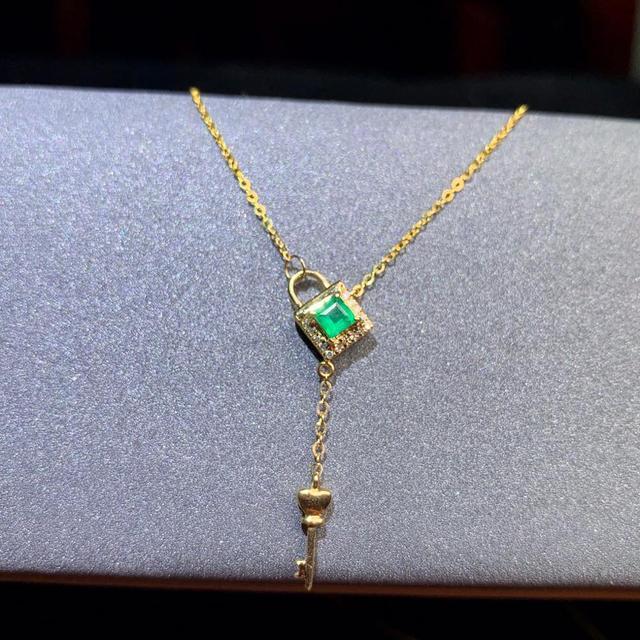 shilovem 18k yellow gold real Natural emerald Gemstone pendants plant women  necklace new Christmas Gift  dz09999933ml 1