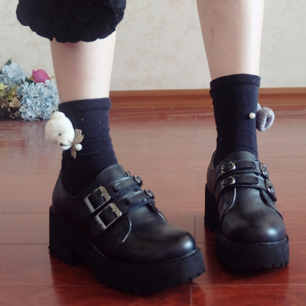 Rosetic Women Shoes Gothic Japanese College Wind Thick Sole Shoes Sen Girl Wild Black Small Leather Shoes Vintage Retro Lolita