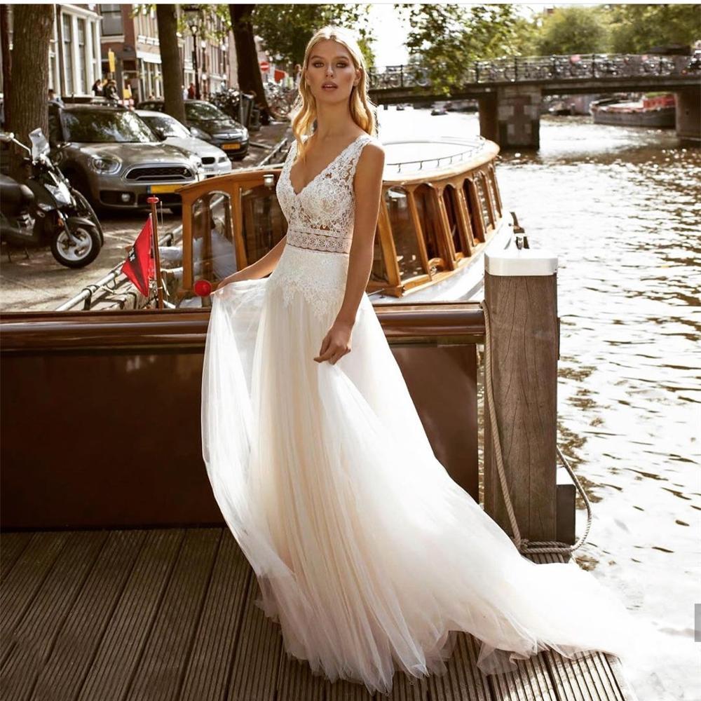 Свадебное платье 2021 V-образный вырез с кружевной аппликацией до пола для Длина с низким вырезом на спине плиссированная юбка из тюля женские...