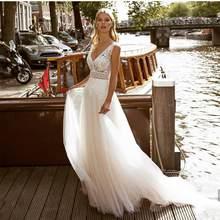 Vestido de casamento 2021 decote em v apliques de renda até o chão sem costas tule plissado feminino noivas senhora robe de mariee branco sem mangas