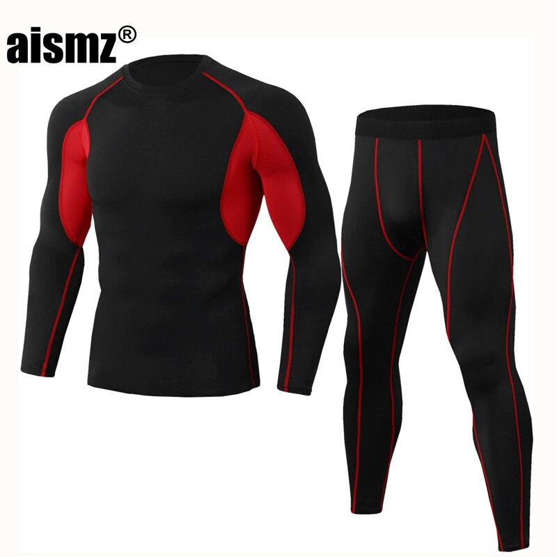 Aismz новые зимние комплекты термобелья мужские быстросохнущие антимикробные стрейч мужские термобелье мужские теплые кальсоны для фитнеса