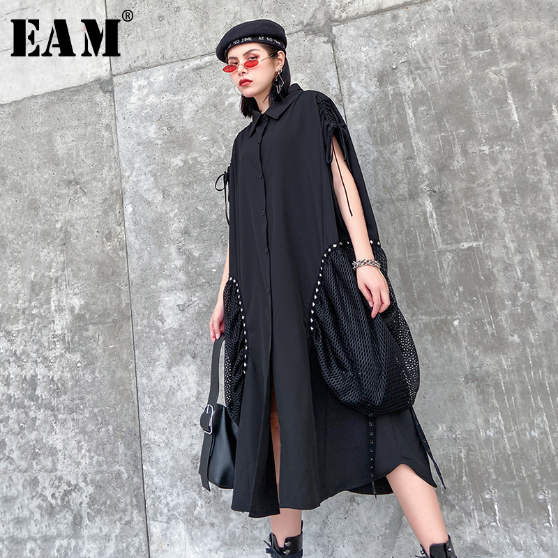 [EAM] Women Black Pocket Split Big Size Shirt Dress New Lapel Short Sleeve Loose Fit Fashion Tide Spring Autumn 2020 1R472