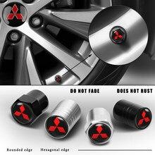 1 conjunto de alumínio anti-roubo pneus de carro tampas de válvula da haste do pneu da roda tampas herméticas para mitsubishi asx lancer pajero outlander