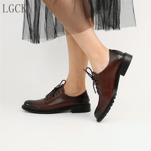 Plus Size 34-41 Genuine Leather Women Shoes High Quality Oxfords Creeper Loafers Lace-Up British Style Vintage Casual Shoes With цены онлайн
