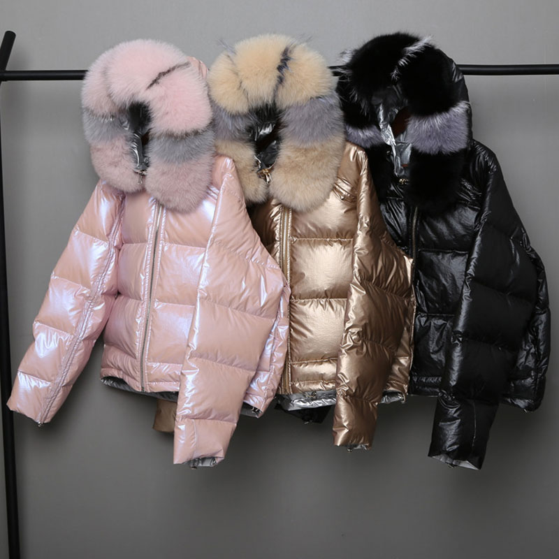 Fashion Wear On Both Sides   Down     Coats   Women Casual Fur Collar Hooded Zipper Outwears Winter Women's Glossy Hardy Warm Jackets