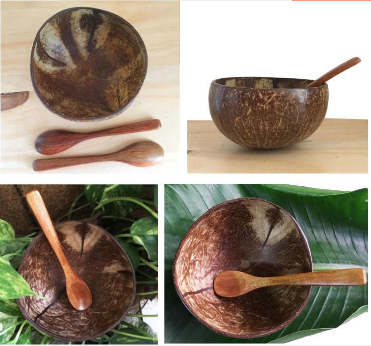 Natural Superior Coconut Shell Bowl Polished Wooden Cutlery Eco Friendly