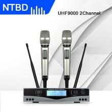 NTBD караоке сценическая хип-хоп домашняя КТВ УВЧ-9000 Профессиональная беспроводная двойная микрофонная система 2 канала 2 ручной