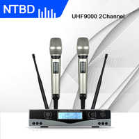 NTBD Karaoke Stage Performance Hip Hop Home KTV UHF-9000 Professional Wireless Dual Microphone System 2 Channel 2 Handheld