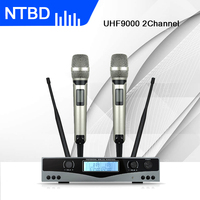 NTBD Karaoke Stage Performance Hip Hop Home KTV UHF 9000 Professional Wireless Dual Microphone System 2 Channel 2 Handheld