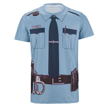 Men Police 3D T Shirt Male Policemen Cosplay Tee Adult Halloween Carnival Party Festive Top