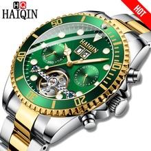 HAIQIN popularna marka mężczyźni zegarek mechaniczny zegarek biznesowy stal wodoodporny męski zegarek z mechanizmem tourbillon Reloj mecanico de los hombres