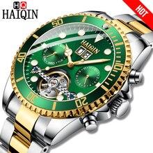 HAIQIN חם מותג גברים שעון מכאני עסקי שעון פלדה עמיד למים זכר שעון יד Tourbillon Reloj mecanico דה לוס hombres