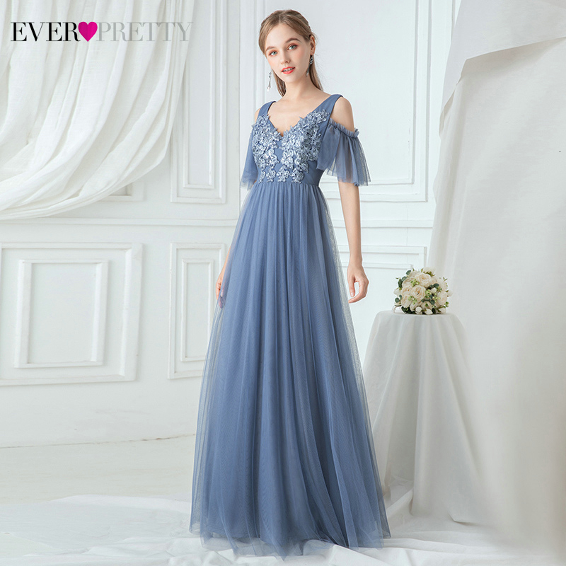 Elegant Bridesmaid Dresses Ever Pretty EP00745DN Sequined Appliques A-Line V-Neck Ruffles Tulle Wedding Guest Dresses Sukienki