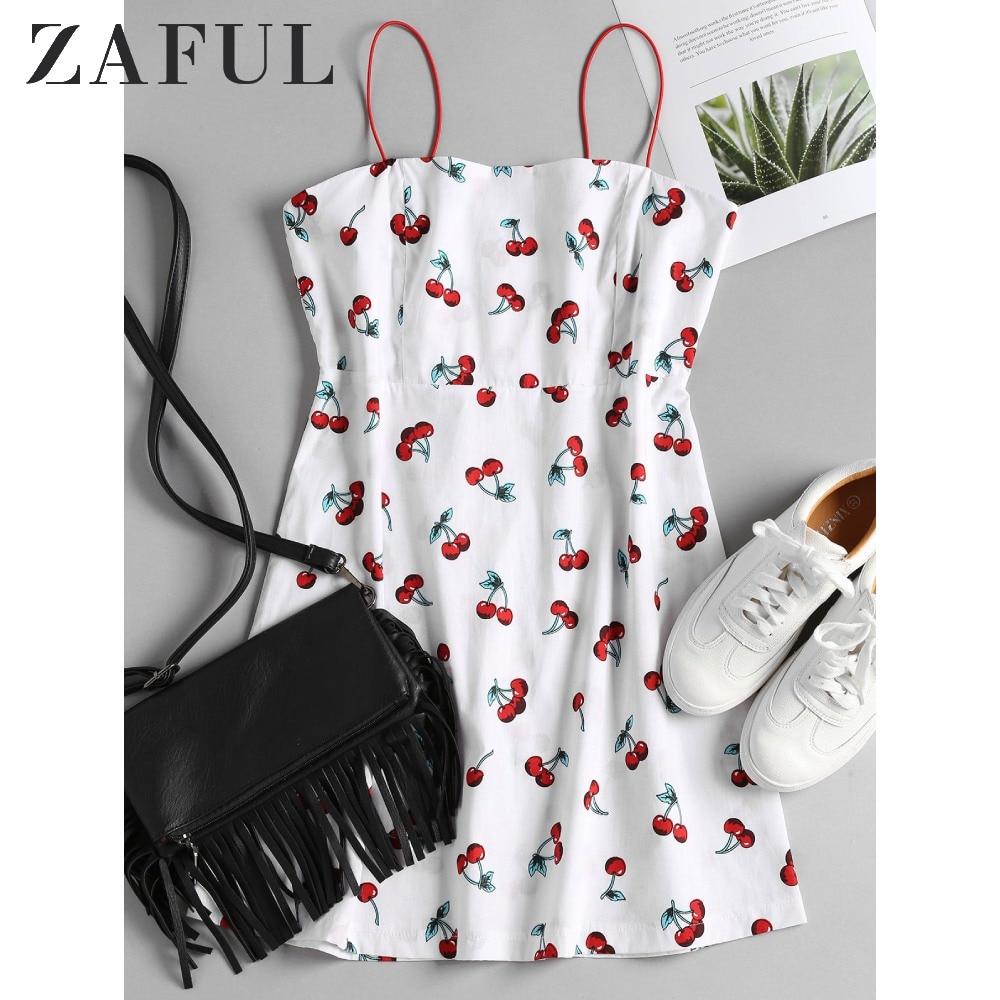 ZAFUL Cherry Print Cami Sundress Bungee Cord Thin Strap Short Sun Dress Beach Vacation Cute A Line Mini Women'S Camisole Dress