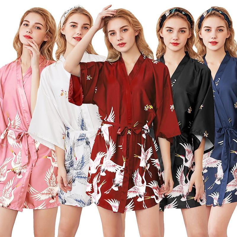 Women Silk Satin Sexy Kimono Bathrobe Knee Length Bridesmaid Crane Bath Robe Plus Size Bride Dressing Gown For Wedding Sleepwear