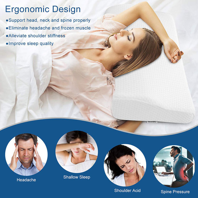 Orthopedic Memory Foam Pillow 60x35cm Slow Rebound Soft Memory Slepping Pillows Butterfly Shaped Relax The Cervical For Adult 2