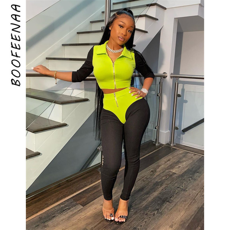 BOOFEENAA Sexy Sports Tracksuit Two Piece Set Top And Pants Women Casual Outfits Rib Knit Jogging Matching Sets 2020 C48-AG32