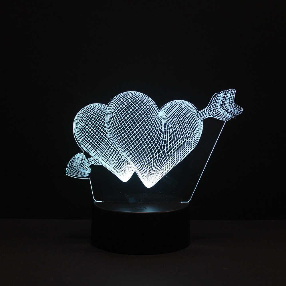 3D ไฟ LED วันแม่ข้อเสนอ Angel Love หัวใจ Mermaid 16 สีเปลี่ยนโคมไฟแปลกใหม่สำหรับตกแต่งบ้านภาพเด็กของขวัญ