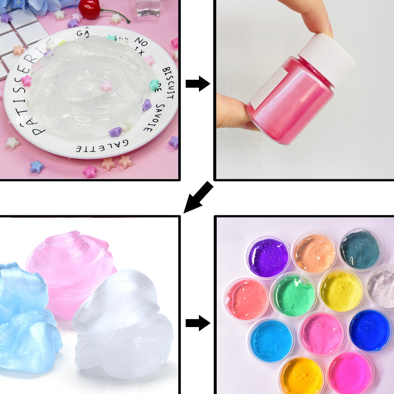 Value Diy Slime Charm Kit Glitter Powder Filler Pigment Pearl Powder Dye Fluffy Slime Accessory Girls Gift Kids Decoration Toys