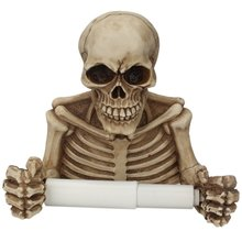 New Novelty Skull Shape Tissue Holder Wall Hanging Kitchen Bathroom Toilet Roll Paper Towel Rack Plastic Holder Home Supplies vintage wall mounted tissue towel hanging rope toilet paper holder kitchen roll paper rack home organizer bathroom decoration
