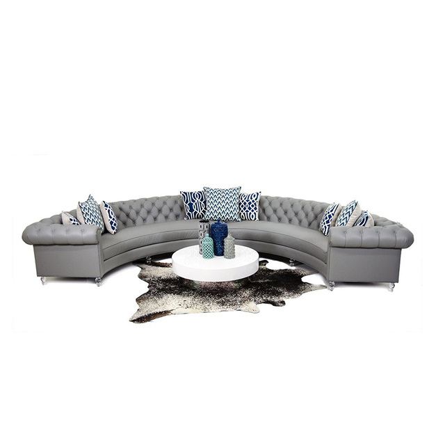 Chesterfield Arc-Shaped  Leather Conversational Sofa 1