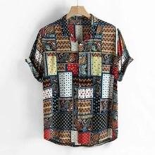 Estilo étnico dos homens do vintage impressão solta manga curta gola casual camisa botão havaiano praia gola masculina