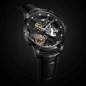 Image 3 - スーパー新モデルオリジナルトゥールビヨンビジネスメンズ腕時計トップブランドの高級スケルトンサファイア時計男性レロジオ masculino
