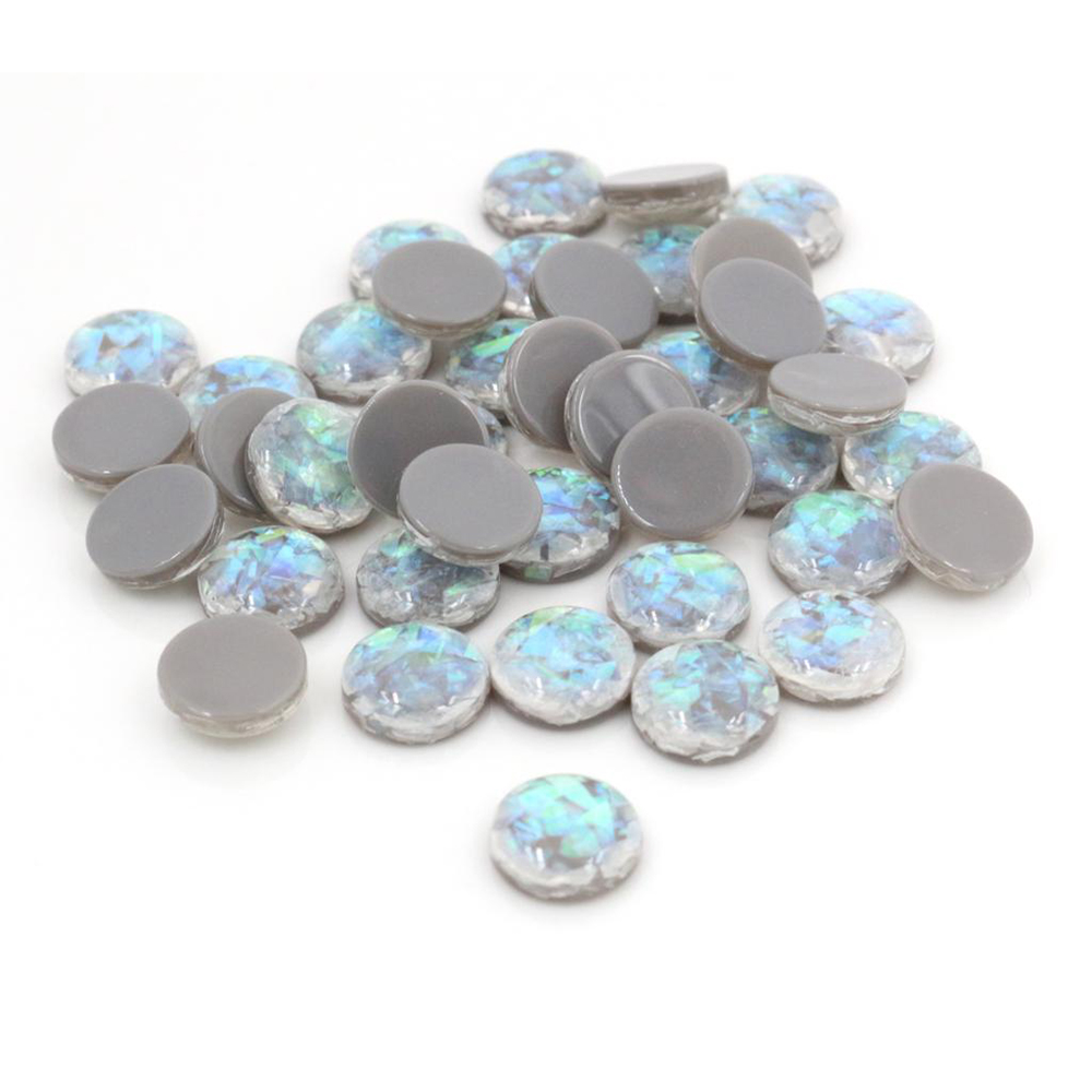 New Fashion 10mm 40pcs/Lot Gray Color Built-in Metal Foil Flat Back Resin Cabochons Cameo V5-25