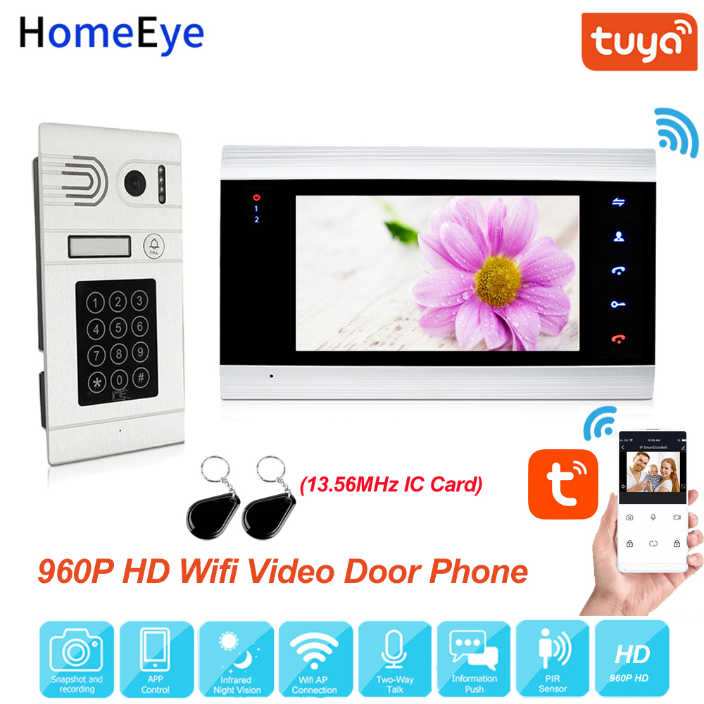 Tuya Smart Home App Remote Control WiFi IP Video Door Phone Video Intercom Access Control Motion Detection Code Keypad + IC Card