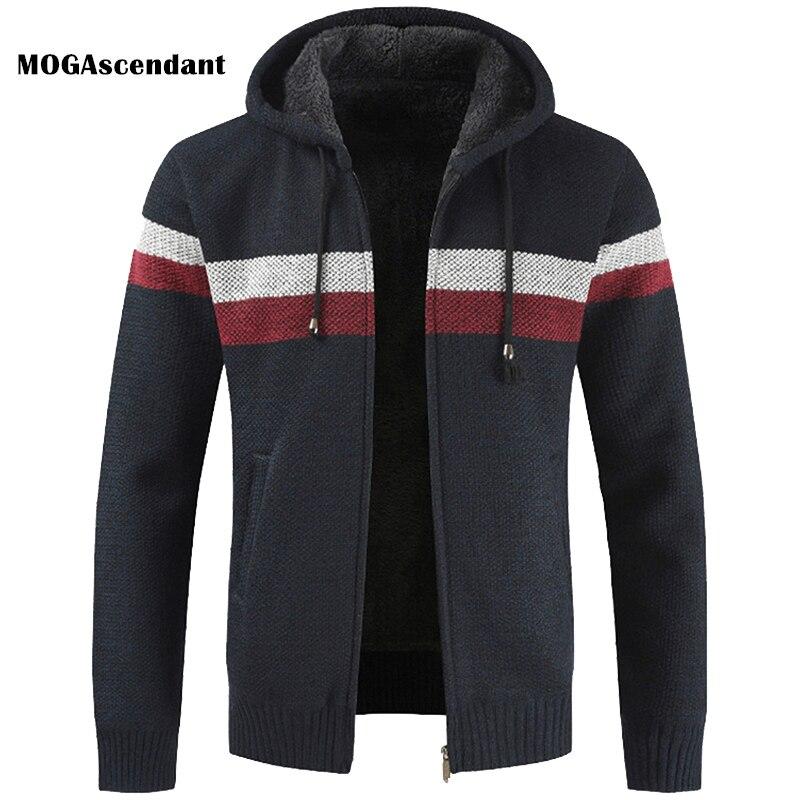 Men's Winter Fleece Sweater Coat 2020 Spring Autumn Male Hooded Stripe Outwearcoat Thick Zipper Wool Sweater Cardigan Jumpers