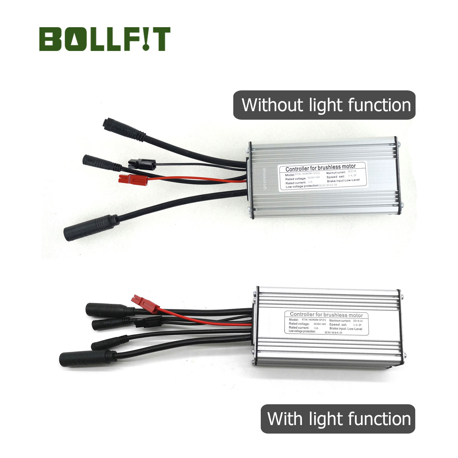 BOLLFIT Ebike Controller 36/48V 22A 25A 9 Mosfets Light Function Whole Water Proof  Plug  KT Kunteng 500W Motor Electric Bicycle
