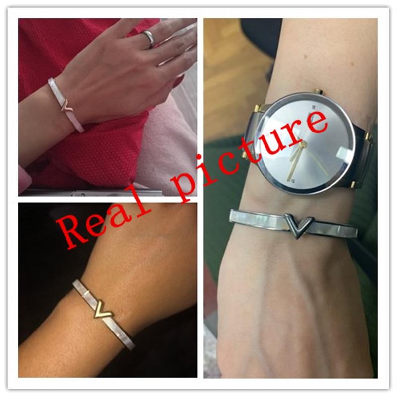 Luxury Brand Natural Shell V Shape Bracelet & Bangle For Women Men Charm Hollow Letter Bangle Love Silver-Color Pulseiras K088-1