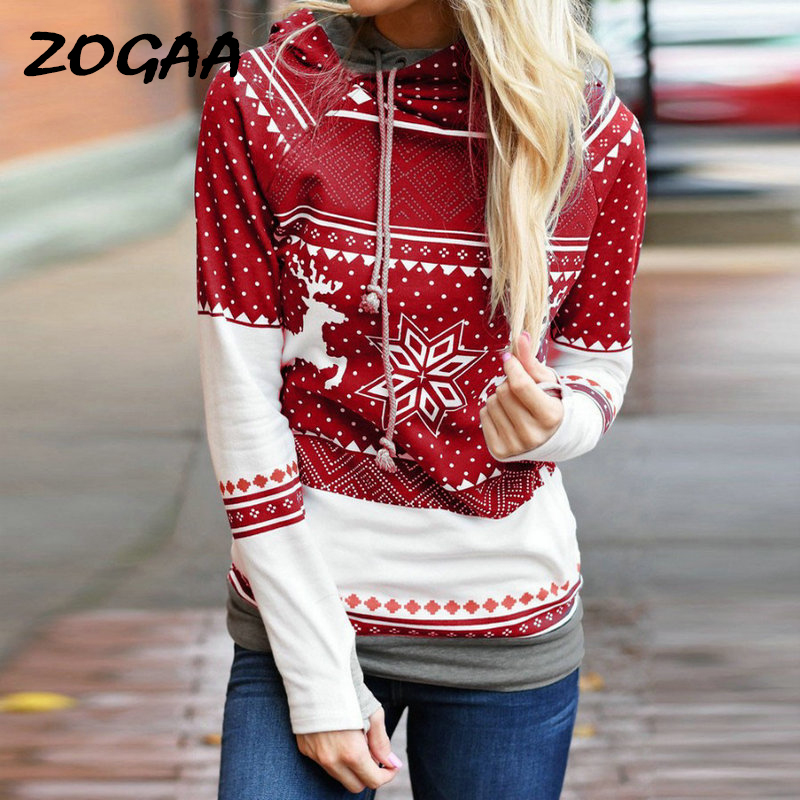 Womens Christmas Xmas Hoodies Pullover Top Long Sleeve Casual Women 2019 New Autumn Winter Loose Female